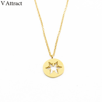 V Attract 2017 Boho Jewelry Stainless Steel Collier Necklaces Unique Dainty Hollow Snowflake Flowers Necklace Femme