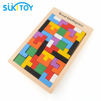 SUKIToy Colorful Wooden Tangram Brain-Teaser Puzzle Tetris Preschool Magination Intellectual Educational Kids Toy For Game Baby