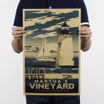 Marthas Vineyard Massachusetts Poster retro kraft kağıt afiş cafe bar pub dekoratif boyama retro afiş 51x32 cm