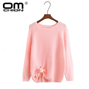 OMCHION Pull Femme 2017 Women Sweaters And Pullovers O Neck Autumn Winter Knitted Sweater Solid Casual Tie Up Pullover LMY81