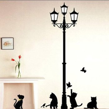 OfferBuy-Sticker Duvar Sohbetler Enjoues + Siluet de Lampadaire Romantique (Decalcomanie)
